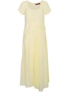 Silk Scoop Neck Dress YELLOW