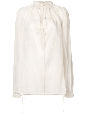 voile balloon sleeve shirt WHITE