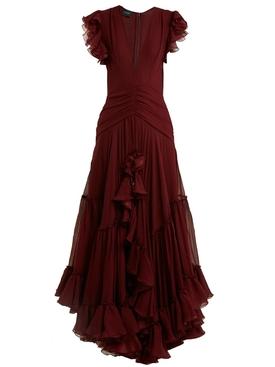 Deep V-neck silk-georgette gown