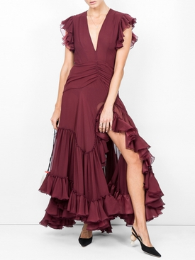 Deep V-neck silk-georgette gown
