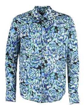 Blue Hortensia Acid Flow Print Shirt
