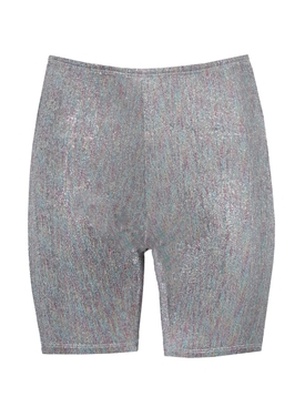 Multicolor rainbow metallic cycling shorts
