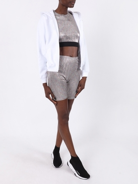 Silver metallic bodyline lurex cropped top