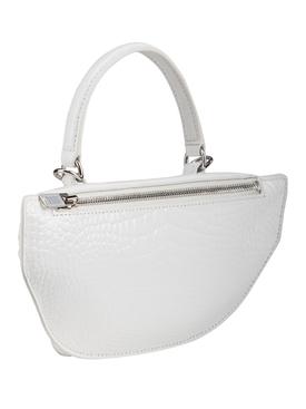 White Croc-Embossed Attica Mini Bag