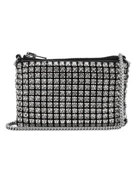 Wangloc silver-tone crystal embellished nano pouch