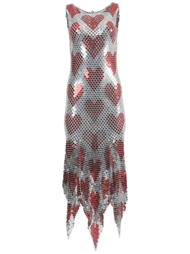 Paco Rabanne - Silver And Red Heart Chain-link Midi Dress - Women