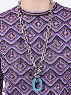 Silver and Turquoise Chain-link Necklace