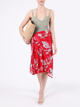 Red Floral Draped Midi Skirt