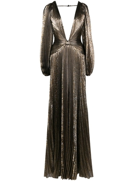 Dark gold pleated gown