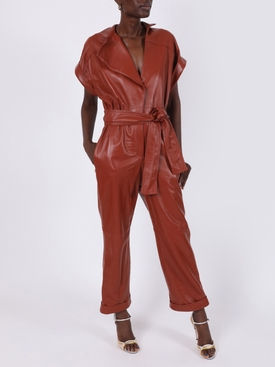 Cognac red leather jumpsuit