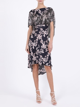 Black Sakura Floral Print Dress