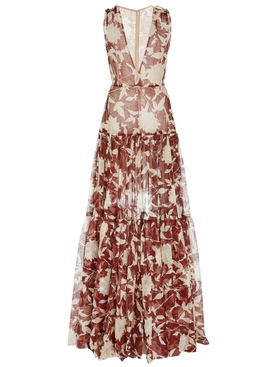 Brown and White Silk Floral Gown