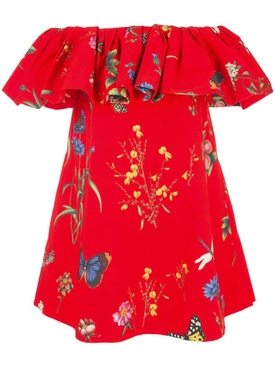 Oscar De La Renta - Red Floral Print Ruffle Mini Dress - Women