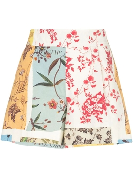 Oscar De La Renta - Multicolored Paneled High-waisted Shorts - Women
