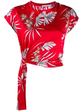 Paco Rabanne - Red Foliage Floral Printed Top - Women