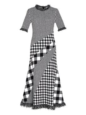 Black and white multi-print dress
