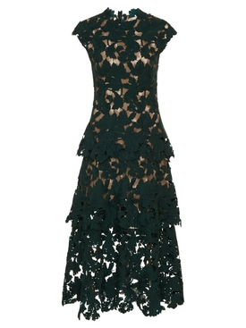 Oscar De La Renta - Lace Cocktail Dress, Peacock Green - Women