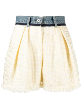 White Tweed Denim Shorts
