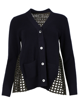 Embroidered Lace Knit Cardigan, Navy