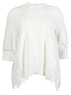 Embroidery Lace Knit Pullover, Off-white