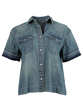 Short-sleeve Denim Shirt, Light Blue