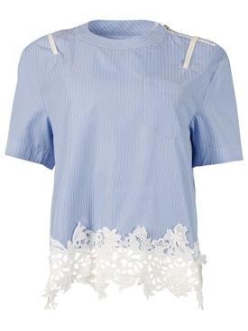 Striped lace applique blouse, blue