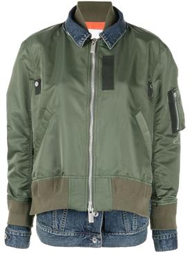 Denim Twill Blouson Jacket, KHAKI AND BLUE