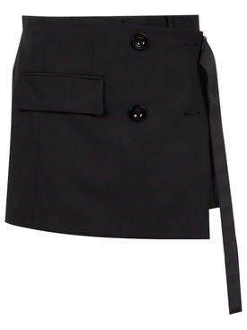 High-waisted wrap front suiting shorts black