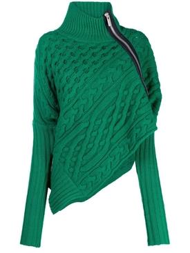 Wool Asymmetric Turtle Neck Sweater Green