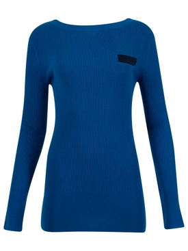 WOOL KNIT AND SATIN PULLOVER TOP BLUE