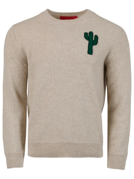 magic cactus cashmere sweater, beige