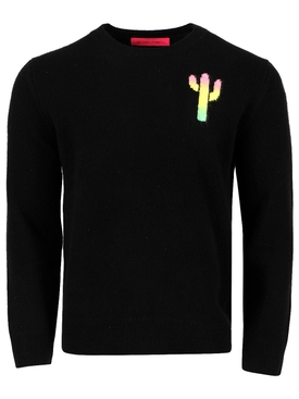magic cactus cashmere sweater, black