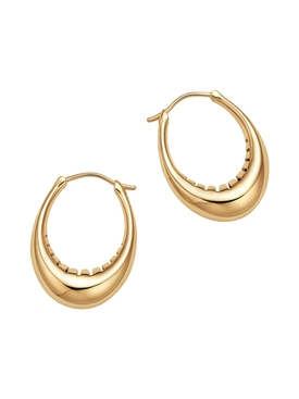 18kt yellow gold oval hoops