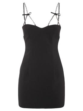 Crystal bow strap mini dress black