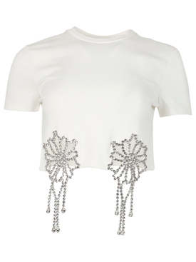 crystal crochet cut out crop top t-shirt white