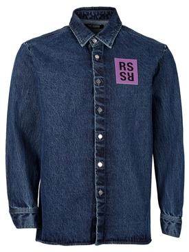 Straight fit denim shirt navy