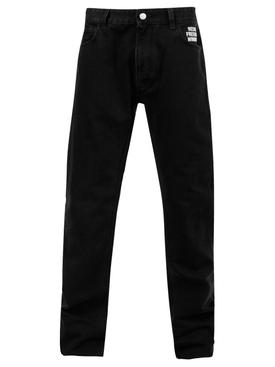Picture patch slim-fit denim pants, black