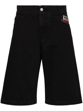 Picture patch workwear denim shorts black