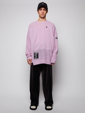 Oversized reversed braid relief sweater, LILAC