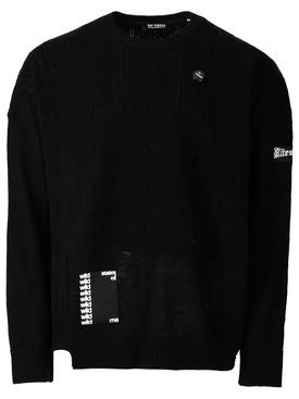 Oversized reversed braid relief sweater, BLACK