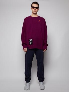 Oversized reversed braid relief sweater, PURPLE