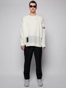Oversized reversed braid relief sweater, WHITE