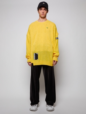 Oversized reversed braid relief sweater, YELLOW