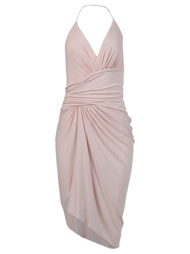 Asymmetric draped halter dress, shell pink