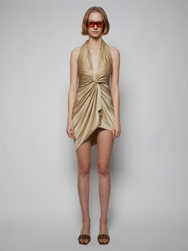 Draped halter mini dress, sand