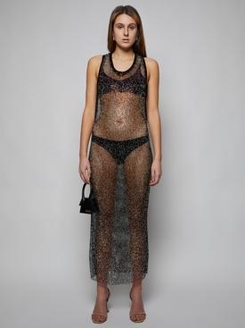 Strassed Fishnet Maxi Dress, Black
