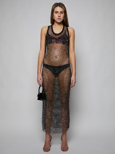 Alexandre Vauthier Strassed Fishnet Maxi Dress, Black