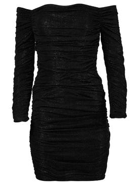 Off-the-shoulder cocktail mini dress, black