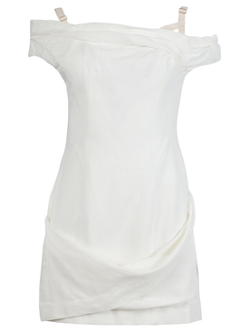 La Robe Foglio Mini Dress, Ecru White