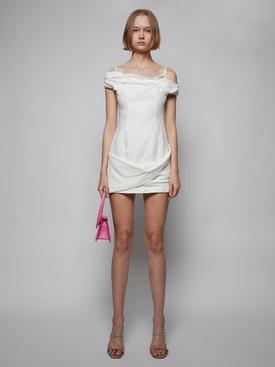 La Robe Foglio Mini Dress, Ecru White